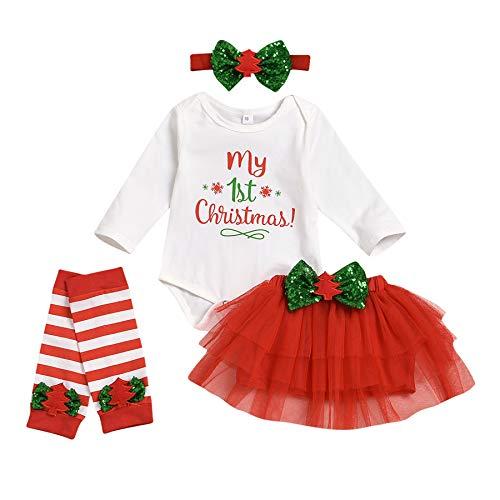 Carolilly Abito Neonata di Natale 4 Pezzi Completo Pagliaccetto Manica Lunga con Lettere Il Mio...