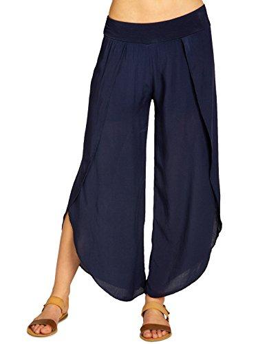 Caspar KHS047 leichte Elegante Damen Viskose Sommerhose, Größe:S/M, Farbe:dunkelblau