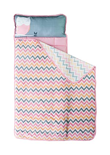 Nap Mat for Toddlers - Nap Mats for Preschool Kindergarten - Owl Gifts for Toddlers - Portable Toddler Sleeping Bag w Pillow - Toddler Blankets for Boys - Toddler Blankets for Girls - Gifts for Girls
