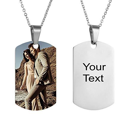 bishixiangenbaihuo Collar Personalizado para Mujer/Hombre con Texto Tallado Y Collar De Fotos Aniversario Regalo De Cumpleaños para Esposa/Esposo(Plata 14)