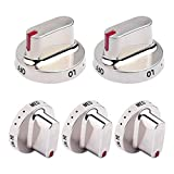 DG64-00472A / DG64-00347A Burner Dial Knob Replacements for Samsung Gas Range Stove Oven Knobs Stainless Steel Ring Compatible with Samsung NX58F5300SS NX58F5500SS FX510BGS( 5 Pack )