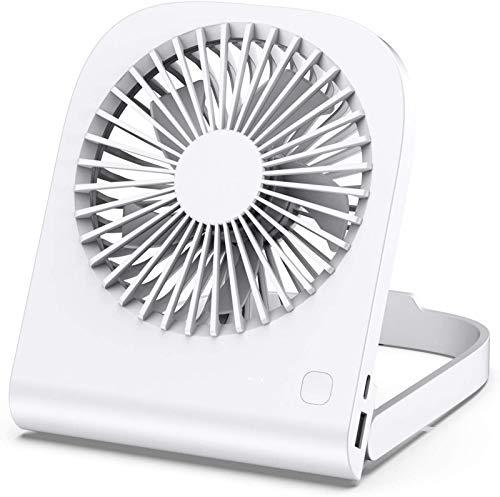 QAZW Ventilador De Escritorio USB Personal,Mini Ventilador Portátil De Mesa Pequeño Recargable para Oficina De Refrigeración De 14 H,Ventilador De Escritorio Operado Ajustable para Viajes,White