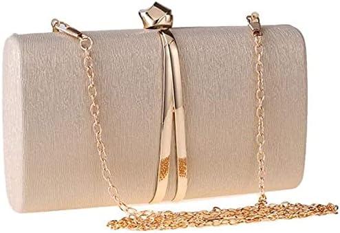Women's Evening Handbags Metal Clutch Bag Chain Diagonal Women's Small Square Bag Elegant Dress Banquet Bag (Color : Gold)
