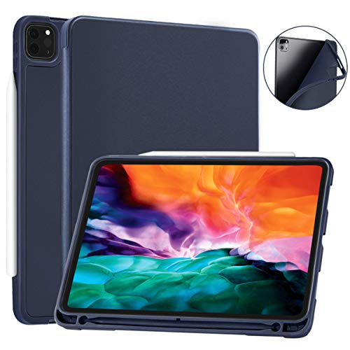 SIWENGDE Case for iPad Pro 12.9 case 4th Generation 2020 Support Apple 2nd Pencil Charging & Pair, Slim Lightweight Trifold Stand Smart Protective Case Cover for Kids (Navy Blue)