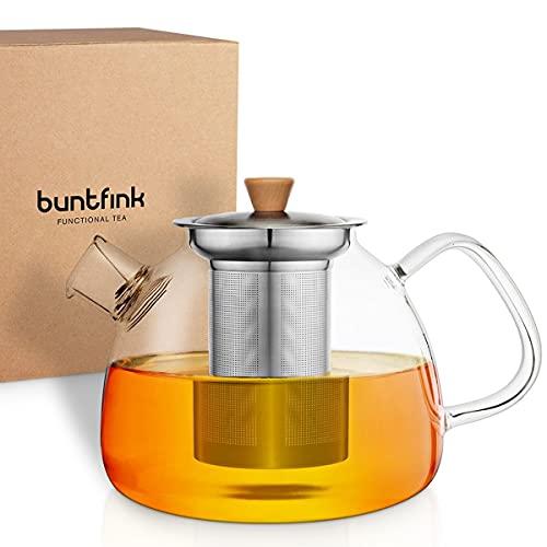 """buntfink®""""TeaPot"""" Teekanne Glas mit Siebeinsatz für 1.300 ml I Glasteekanne mit Siebeinsatz aus Borosilikatglas I Teekanne mit Siebeinsatz und herausnehmbarer Filter (Edelstahlsieb)"""