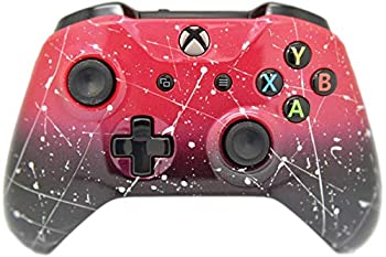 Red & Black Fade W/Silver Splatter Hand Airbrushed Xbox One S Custom Wireless Controller for Xbox One