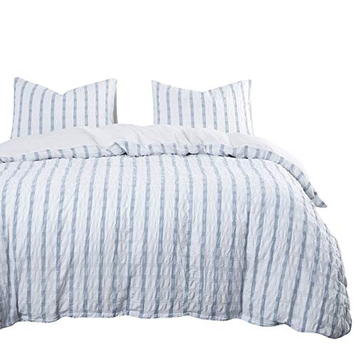 Wake In Cloud - Seersucker Comforter Set, 100% Washed Cotton Bedding, Grid Plaid with Blue Vertical Stripes and White Horizontal Striped (3pcs, King Size)