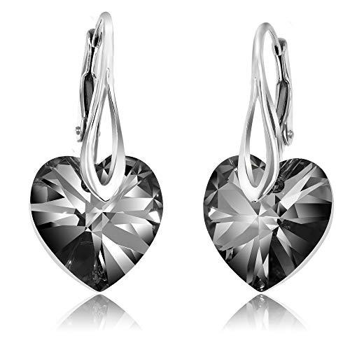 Chic Bijoux Drop & Dangle Earrings for Women - Made with 925 Sterling Silver and Swarovski Crystals for Sensitive Ears – Gift for Her, Hypoallergenic, Aesthetic Jewelry, Black