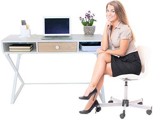 Computer Desk or Writing Desk, Small Ergonomic Office Desk, Wooden Study Desk or Home Decorative Vanity Table, White Modern Minimal Bedroom Desk, 43.3'x19.68'x28.74', Upgraded Metal Drawer Slides