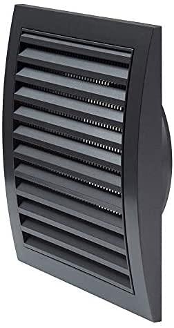 Lüftungsgitter Ø 125 mm Durchmesser 190 x 190 mm Anthrazit Abluftabdeckung mit Insektenschutz - HVAC Duct Cap ABS- Dunstabzugshaube Rohr quadratisch Luftzufuhrsystem Element