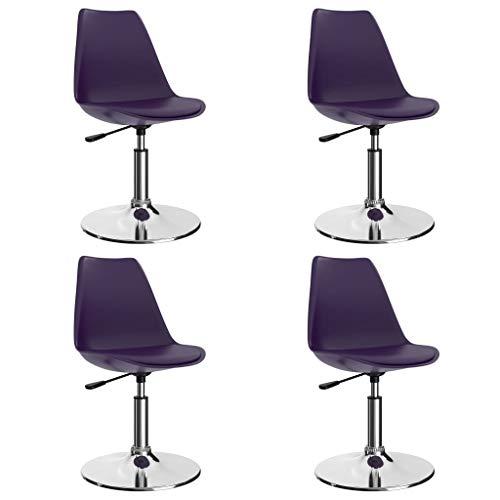 vidaXL 4X Sillas de Comedor Giratorias Asiento Mobiliario Muebles Cocina Salón Sala de Estar Escritorio Respaldo Decoración Cuero Sintético Lila