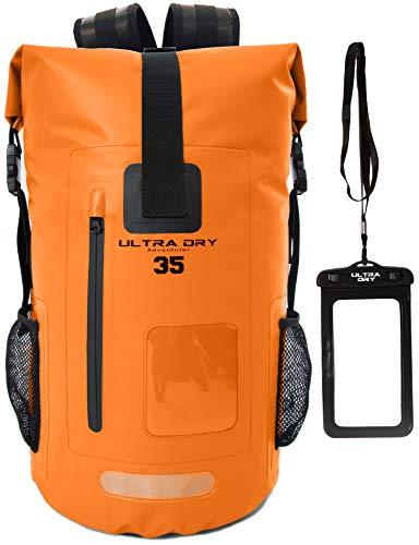Premium 35L Waterproof Dry Bag Backpack, Sack with Phone Dry Bag, Perfect for Boating Kayaking Canoeing Fishing Rafting Swimming Camping Snowboarding (35 L, Orange)