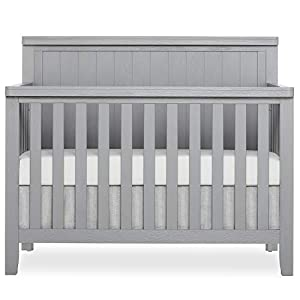 SweetPea Baby Red Wood 4 in 1 Convertible Crib, Brush Pebble Grey (772BR-PG)