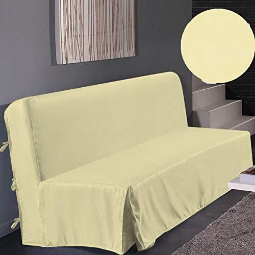 Best Interior - Housse clic clac Marie beige brillant nouettes dimensions 140x200cm Couleur - Blanc cassé