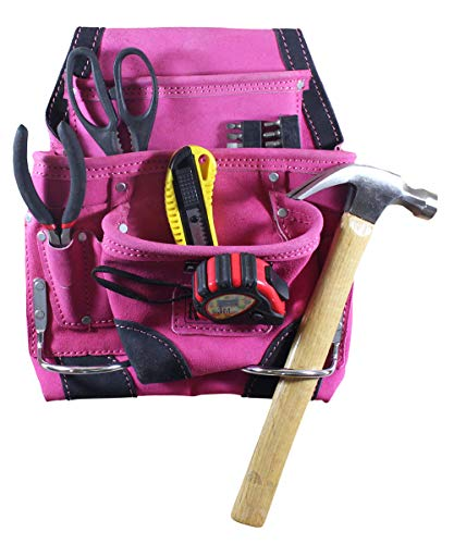 9 Pocket Pink Leather Tool Pouch | Black Trim
