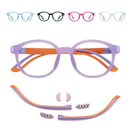 Blue Light Glasses for Kids/Girls/Boys Age 7-12 - TV/Reading/Phone/Gaming/Computer Glasses - Anti Blue Rays & Glare & Eyestrain & UV400 Protection - Light Purple