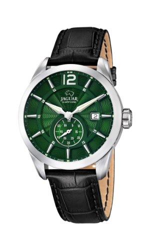 Jaguar Watches J663/3 - Reloj analógico de Cuarzo para Hombre con Correa de Piel, Color Negro