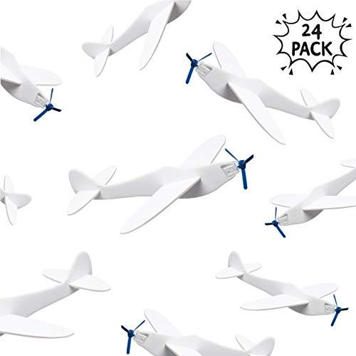Juego de 24 Aviones de Papel/Aviones de Espuma - Diseñelo usted mismo - Ideal para medias de Navidad y rellenos de bolsas de fiesta.