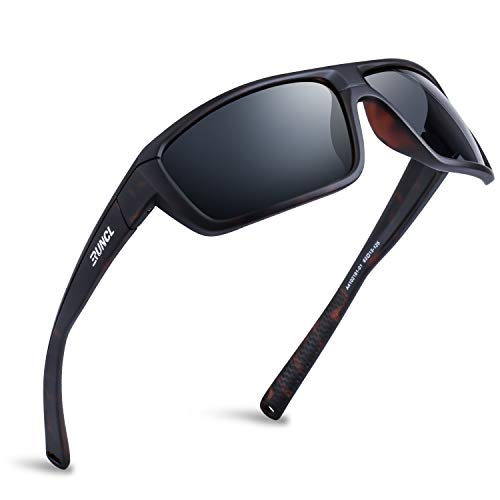 RUNCL Polarized Sports Sunglasses Billy, Fishing Sunglasses UV400 - Ultralight Floating TAC Lens, with Case, Anti-seawater Coating - Beach Sunglasses Men Women Biking Running(Gray, Matte Demi Frame