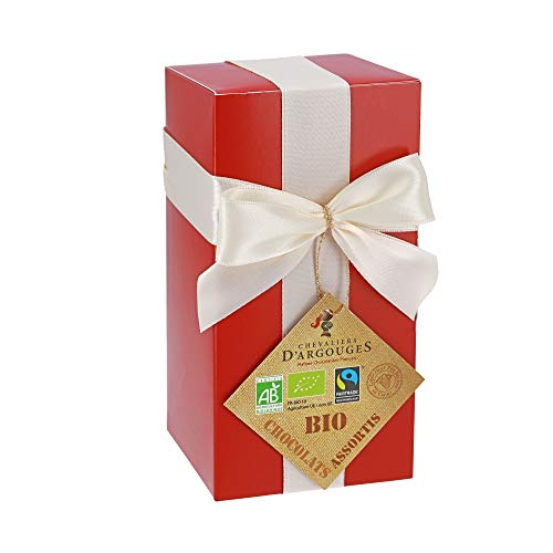Chevaliers d'Argouges Assortiment de chocolats Bio/Fairtrade - Ballotin cadeau Saint-Valentin - 175g