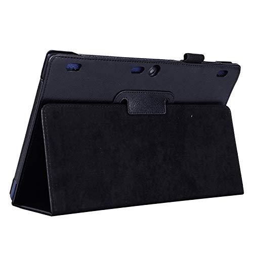 GLXC Aycd Litchi Texture Horizontal Flip Color Sólido Funda de Cuero con Soporte de Dos Plegables para Lenovo TAB2 A10-70 (Negro) (Color : Black)