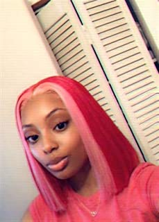 Preferred Hair Ombre Hot Pink Wig for Women Straight Middle Part Lace Front Wig Preplucked with Babyhair Synthetic Cosplay Drag Queen Wigs with Elasticized Wig Cap
