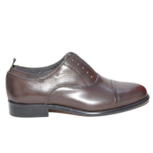 scarpe francesine uomo Scarpe Uomo Francesina Stringata Marrone Vera Pelle Spazzolata Art:b234 Invernale Made in Italy Elastico Senza Lacci (44 EU)