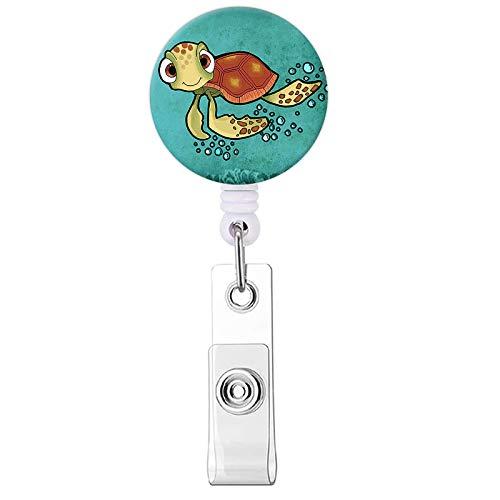 Badge Reel, Cute Turtle Pattern Retractable ID Card Badge Holder with Alligator Clip, Name Decorative Badge Reel Clip on Card Holders for Cute Girls,Women, Nurse, Teacher, Student, Volunteer