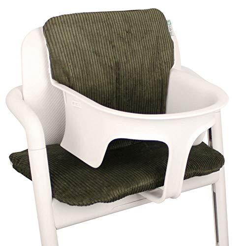 Baby Sitzkissen Sitzverkleinerer für Cybex Lemo Hochstuhl von UKJE Grün Cordstoff Praktisch und dick gepolstert Maschinenwaschbar 2-teilig Öko-Tex Baumwolle