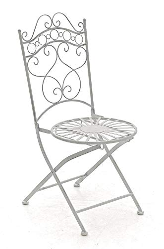 CLP Chaise de Jardin en Fer Forgé Indra Chaise en Fer avec Un Design Antique avec Dossier - Meuble de Jardin en Fer en Métal, Couleurs:Antique Blanc