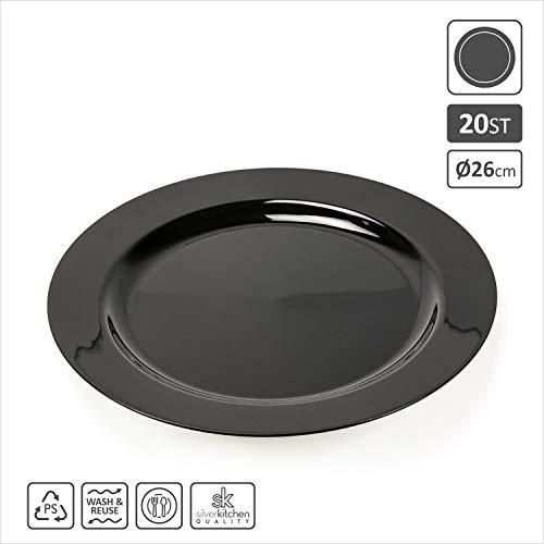 20x Platzteller schwarz Ø 26 cm aus Plastik | Plastikteller Alt. zu Einweg | robustes Partygeschirr bruchsicher | hochwertige Qualität wiederverwendbar | Geburtstag Catering | silverkitchen ®