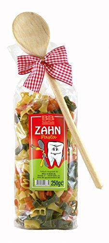 Pasta Präsent Zahn mit bunten Zahnnudeln handgefertigt in deutscher Manufaktur