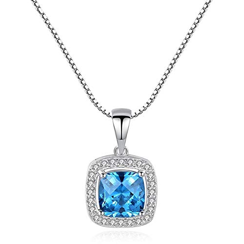 925 Sterling Silver Created Square Sapphire Pendant Necklace for Women Charming Female Wedding Necklace Fine Jewelry