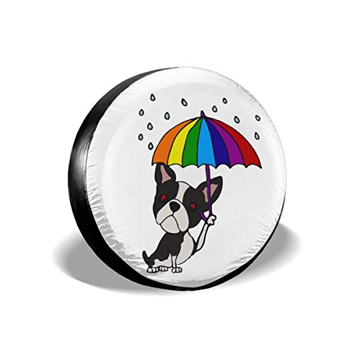 Enoqunt leuke boston terrier met paraplu-bandenafdekking voor goedkope vrachtwagenaanhangers en vele voertuigen