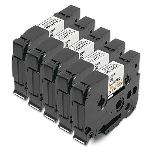 Alaska 5X kompatible Schriftband als Ersatz für Brother TZe-231 12mm schwarz auf weiß 12mm breit x 8m Länge kompatibel zu TZ231 TZ-231 TZE231