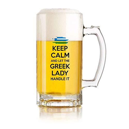 Jarra de cerveza de vidrio para restaurante, jarra de cerveza para juego de pelota, regalo griego, mantén la calma y deja que la dama griega lo maneje