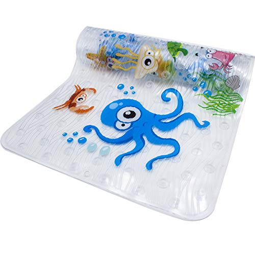 BeeHomee Bath Mats for Tub Kids - Large Cartoon No   n-Slip Bathroom Bathtub Kid Mat for Baby Toddler Anti-Slip Shower Mats for Floor 35x16,Machine Washable XL Size Bathroom Mats (Blue-Octopus)