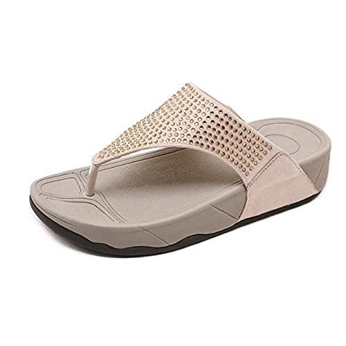 Ciabatte Infradito Pantofola Sandali Infradito da Donna Sparkly Beach Sandals Platform Shoes-Beige_6