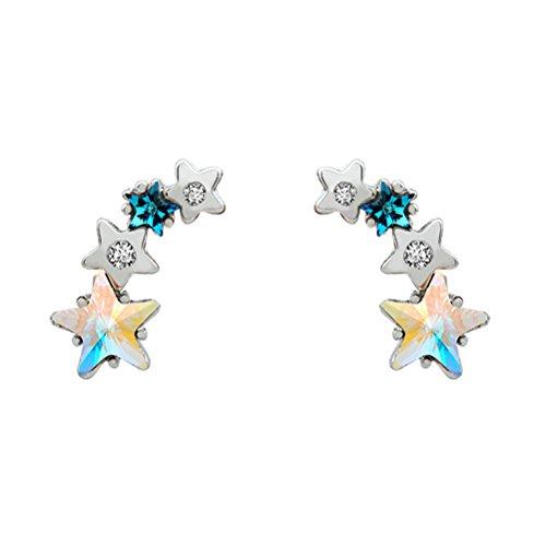 18k azul estrellas con Swaroviski cristal Ear Cuff Star Plata piercing Stud Pendientes hipoalergenicos zirconita para mujer niña fiesta pendientes que suben pendientes trepador