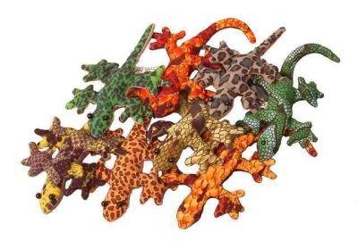Handgearbeitetes Stofftier Gekko mit Sand gefüllt aus Thailand, Größe ca. 7 cm (3 für 2 Aktion)