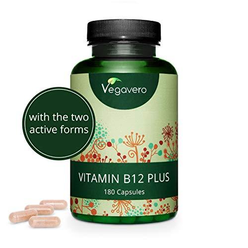 VEGAVERO® Vitamin B12 PLUS 1000µg | B12 Kapseln mit Cholin, Folsäure & B6 | OHNE ZUSATZSTOFFE | Beide aktive Formen - Methylcobalamin & Adenosylcobalamin | Laborgeprüft | 180 Kapseln (6 Monate)
