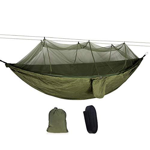 Hamacs, Meubles de Camping Anti-Moustique Extérieur Double Multi-scène Application Prévention de retournement Charge Durable 300 Kg (Couleur: Vert Armée, Taille: 260 * 140cm) Confortable