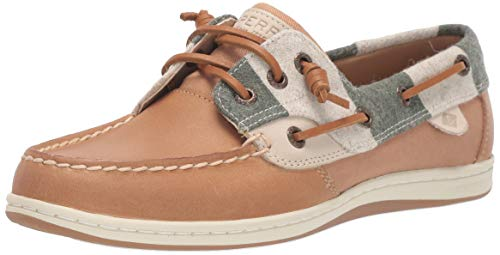 Sperry Womens Songfish Varsity Wool Boat Shoe, Tan, 8.5