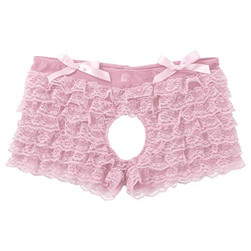 winying Herren Ouvert Sissy Slip Spitzen Boxershorts Rüschen Pumphose mit Bowknot Erotik Unterhosen Pants Rosa Large