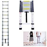 Telescopic Ladder 5M/ 16.5 Feet 150kg Capacity Aluminum Straight Ladders Portable Light Weight Compact Save Space for Home DIY Builder Supply Roof Work Decoration