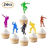 Joymee Video Game Cupcake Toppers Dance Gaming Themed Happy Birthday Party Supplies Cake Colorful Glitter Decorations 24 PCS