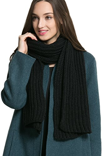 Women Men Winter Thick Cable Knit Wrap Chunky Warm Scarf All Colors Black Hor