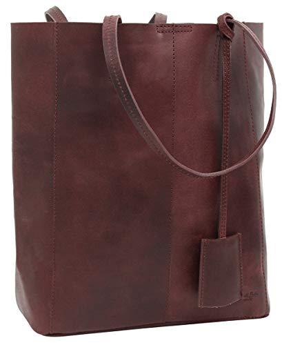 Gusti Handtasche Leder Damen Herren groß - Cassidy Shopper Ledertasche Umhängetasche 13L Tasche rot weinrot