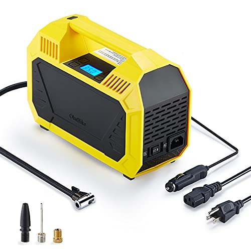 OlarHike AC/DC Tire Inflator, Portable Electric Air Compressor for Car(DC 12V) and Home(AC 110V), Tire Pump with Pressure Gauge, LCD Display and Adapters, Air Pump for Cars, Bikes, Basketballs