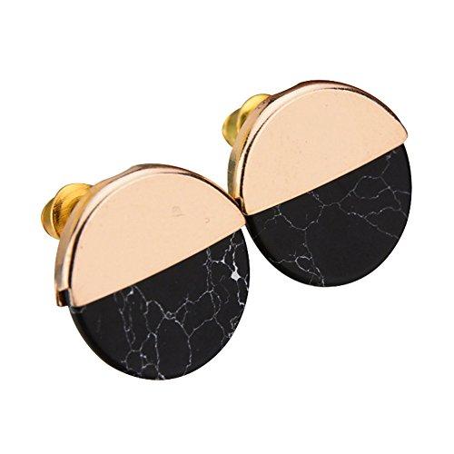 AkoMatial Earrings, Fashion Half Round Faux Marble Stone Ear Studs Women Date Shopping Refined Elegant Cute Unique Design Earrings Fashion - Black
